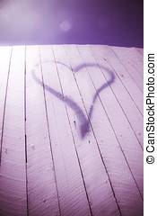 Love Thy Neighbour - Purple Love Heart Sign Spray Painted On...
