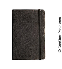 Little black book with path - Black memo book isolated on...
