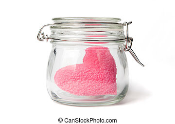 Pink heart in a jar