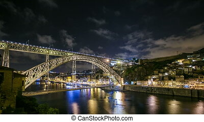Timelapse The Dom Luis I Bridge is a metal arch bridge that...
