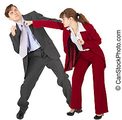 Woman punches a man - an unexpected denouement dispute - A...