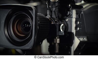 Rotate of a Television Camera - Close-up of a Television...