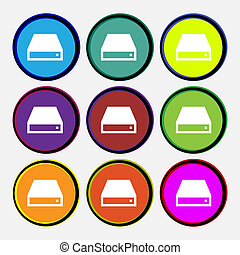 CD-ROM icon sign Nine multi-colored round buttons...