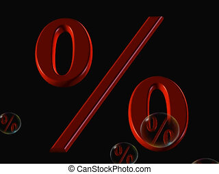 percent in red - 3d depiction of percentage