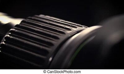 Macro of Camera Lens, focus ring - Close-up of a Television...