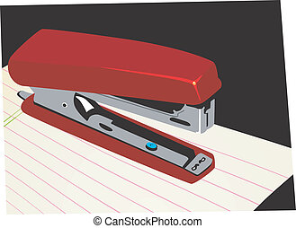 Stapler - Illustration of a paper stapler on top of a paper...