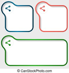 set of three vector text frame with share icon