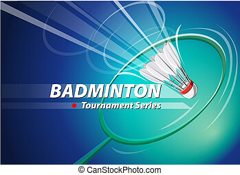 Badminton - Abstract vector, shape shuttlecock and racket...