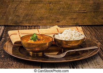 Chicken Madras - Chicken madras served with white basmati...