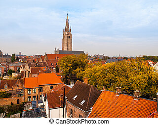 Church of Our Lady tower in Bruges - Gothic tower of Church...