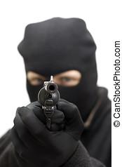 Gunman - A Burglar In Threatening Stance, Aiming A Hand Gun...
