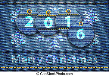 Merry Christmas greetings on blue jeans background - 2016...
