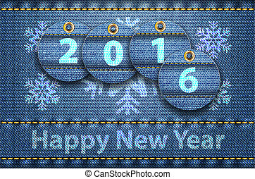 2016 year digits and Happy New Year greetings on blue jeans...