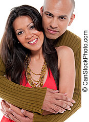 Trendy couple in love - Multiracial couple dating,...