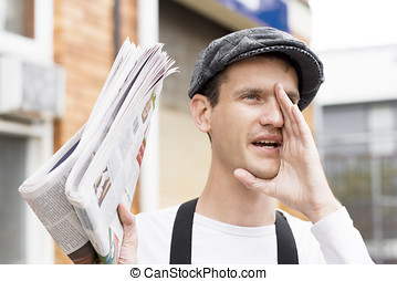 Spruiking Newspaper Boy - Calling For Buyers A Spruiker News...