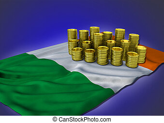 Irish economy concept with national flag and golden coins