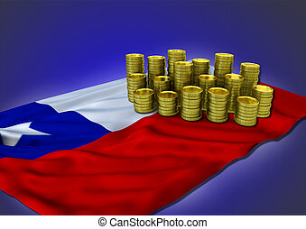 Chilean economy concept with national flag and golden coins...