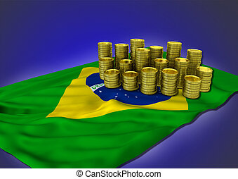 Brazilian economy concept with national flag and golden...