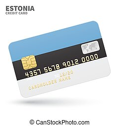 Credit card with Estonia flag background for bank,...
