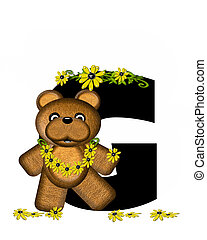 Alphabet Teddy Making Daisy Chain G - The letter G, in the...