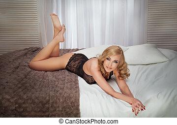 blondin, kvinna, sensuell, Framställ
