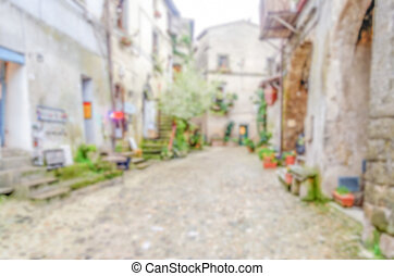 Defocused background of ancient italian small town....