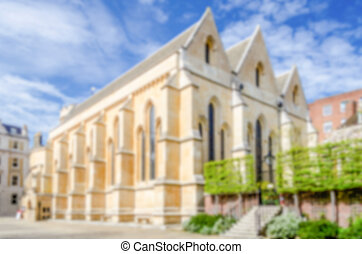 Defocused background of Temple Church in London, UK...