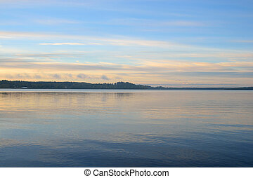 Lake at sunrise. - Lake at sunrise in Karelian Isthmus,...