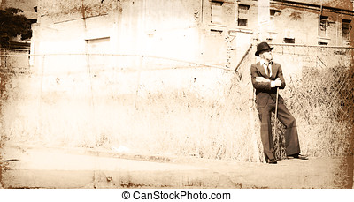 Olden Daze - Overexposed Vintage Style Scene Of A Man In A...