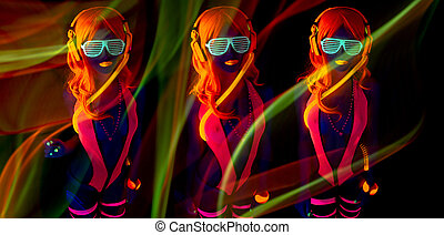 sexy neon uv glow dancer - sexy female disco dancer poses in...