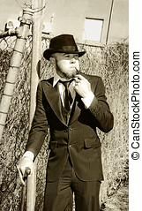 Pastime Pipe Smoker - Sepia View Of Young Gentleman In Suit...