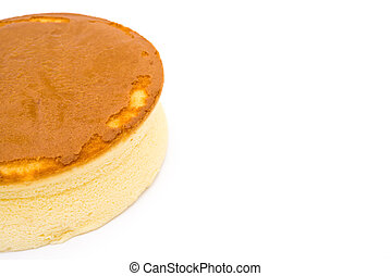 cheese cake on a white background with copy space