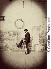 Stepping Into The Past - Vintage Sepia Stylised Image Of A...
