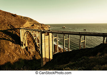 Bixby Bridge as the famous landmark in Big Sur California