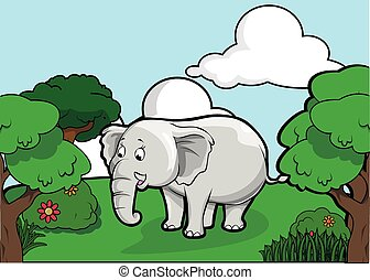 Elephant and Forest scenery