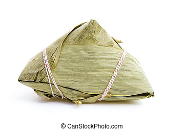Chinese ZongZi on white for Dragon Boat Festival, DuanWu festival