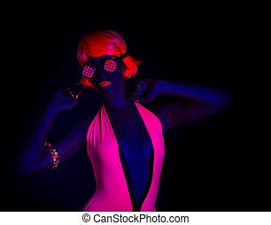 sexy neon uv glow dancer - sexy female disco dancer poses in...