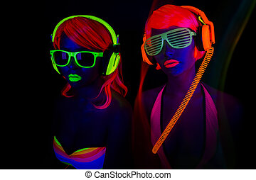 two sexy neon uv glow dancers - two sexy female disco...