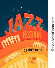 JAZZ concert, music background, vector illustration, flat...