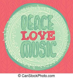 Peace Love Music emblem coin vector illustration, flat style