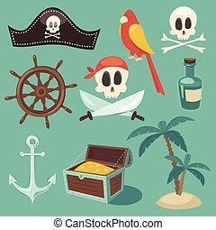 cute pirate set, objects collection, vector illustration,...