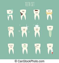 teeth icon set concept of healthy vector illustration flat...