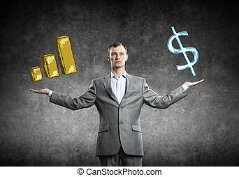 Income growth concept - Young businessman with spread arms...