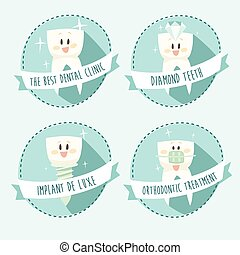 concept of healthy teeth icon set vector illustration flat...
