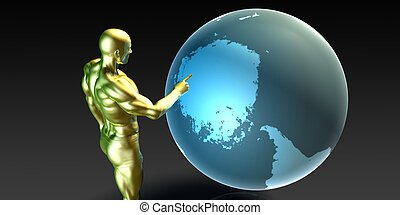 Businessman Pointing at Antarctica - Businessman Pointing at...