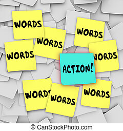 Action Vs Words Sticky Note Message Board - Action Vs Words...