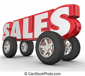 Auto Car Sales 3d Word Wheels Tires - Sales word in red 3d...