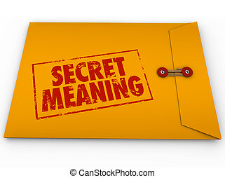 Secret Meaning Red Ink Words Yellow Envelope Mystery Message...