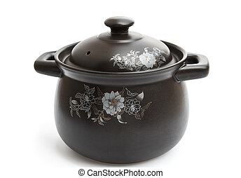 clay cooking pot on a white background