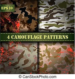 Set of 4 seamless camouflage patter